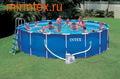 INTEX Бассейн каркасный круглый 549х122 см (видео, фильтр-насос 220В, лестница, настил, тент)