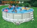 INTEX Бассейн каркасный круглый 488х122 см (видео, система очистки воды+фильтр-насос 220В(4520л/ч), лестница, настил, тент, сачок, скиммер)