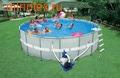 INTEX Бассейн каркасный круглый 549х132 см (видео, система очистки+песочный фильтр 220В, лестница, настил, тент, волейб.сетка)