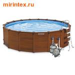 INTEX Бассейн каркасный круглый 478х124 см (видео, песочный фильтр 220В, лестница, настил, тент)