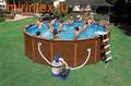 INTEX Бассейн каркасный круглый 569х135 см (видео, система очистки+песочный фильтр 220В, лестница, настил, тент, сачок, скиммер, волейб.сетка)