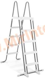 INTEX 28077 Лестница для надувных и каркасных бассейнов с высотой борта 132 см, с площадкой и съёмными ступенями.